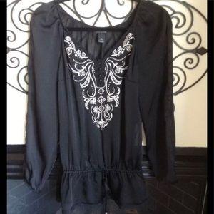 white house black market xs blk embellished blouse